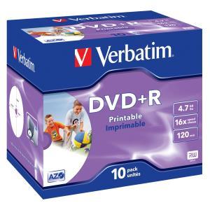 DVD+r Media 4.7GB 16x Photo Printable 10-pk With Jewel Case