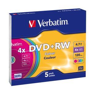 DVD+rw Media 4.7GB 4x 5-pk Color With Slim Case