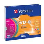DVD-r Media 4.7GB 16x Color 5-pk With Slim Case