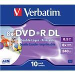 DVD+r Media 8.5GB 8x Printable 10-pk Jewel Case
